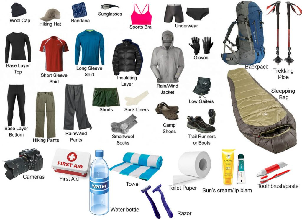 trekking equipment check list