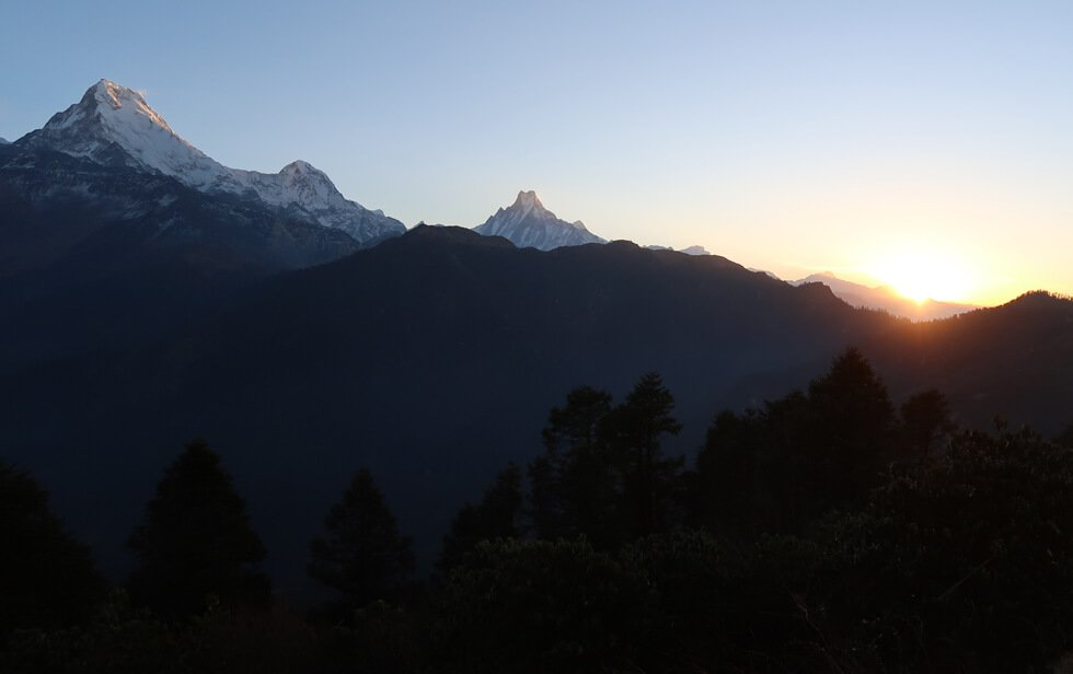 Sunrise view from Poon Hill on Annapurna panorama trek