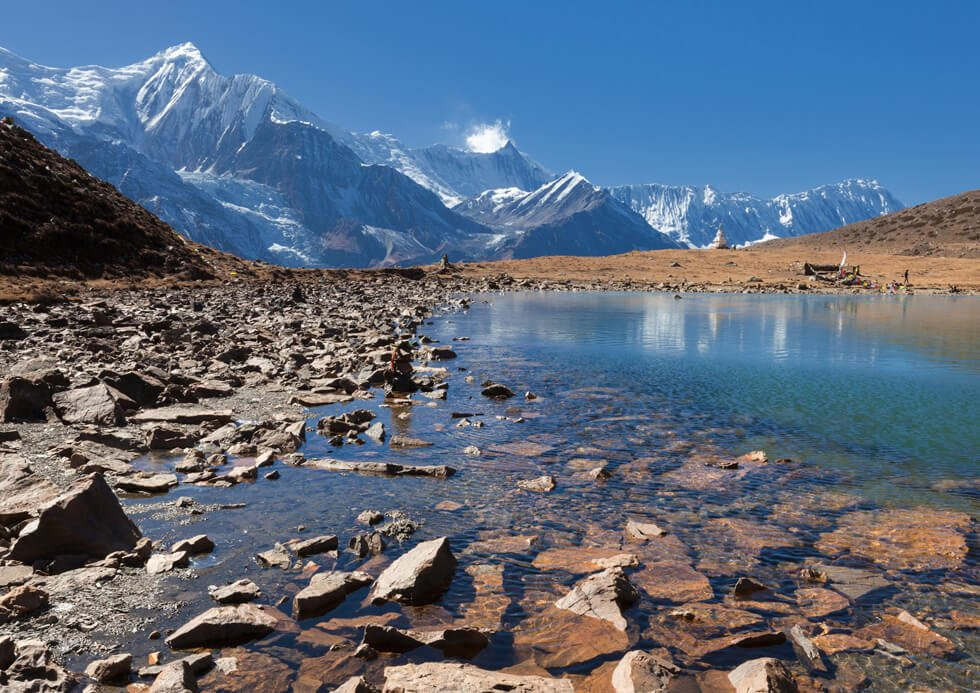 Ice lake on Annapurna circuit with Tilicho lake trek