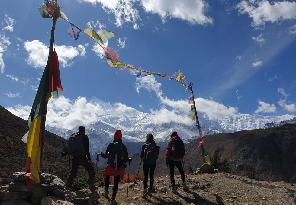 Trekkers on Annapurna circuit and Tilicho Lake Trek